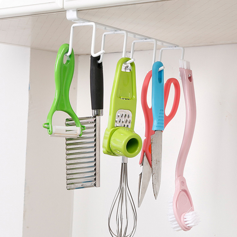 Wonderlife Double Row Cup Holder Hang Kitchen Cabinet Storage Rack Organizer with 8 Hooks Kitchen Storage Accessories