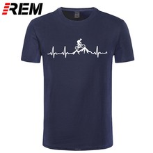 REM Mountain Bike Heartbeat divertido MTB Dirt Bike camiseta de talla grande personalizada de manga corta para hombres camiseta de moda de algodón familiar(China)