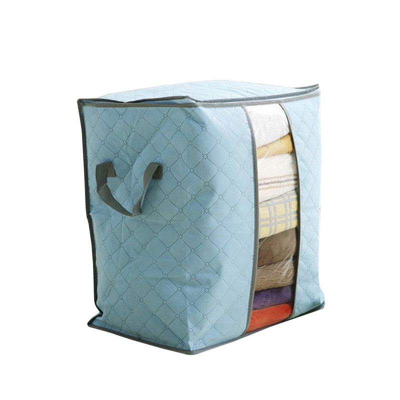 Non Woven Fabric Folding Storage Box Dirty Clothes Collecting Case With Zipper For Toys Quilt Storage Box Clear Window Organizer - Цвет: 45x50x30cm Blue