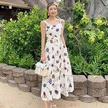 Women Sleeveless Corset Loose Casual Long Dress Big Swing Summer Print Floral Dress Women Modis Streetwear Flower Dresses Ladies