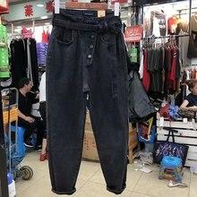 Рваные джинсы для женщин, свободные винтажные женские модные штаны-шаровары с высокой талией и пуговицами, повседневные джинсы размера плюс