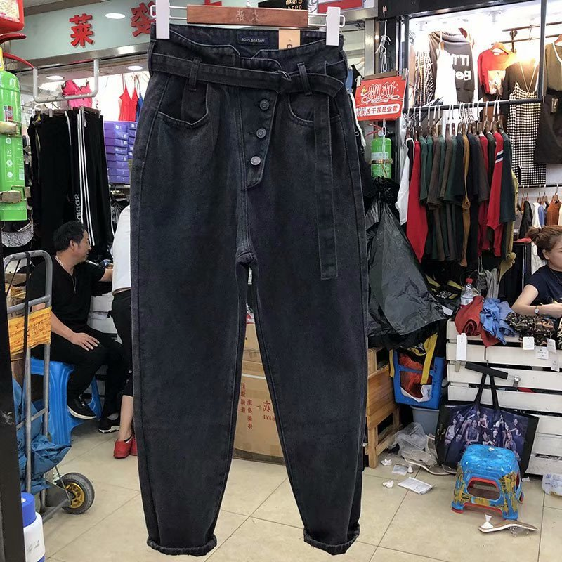 Ripped Jeans For Women Loose Vintage Female Fashion Women High Waist Button Harem Pants Casual Jeans Plus Size