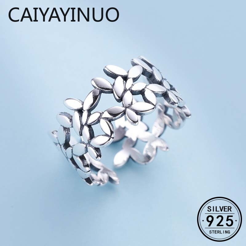 Caiyayinuo Bohemian Vintage 925 Sterling Silver Leaf Rings for Women Fashion Statement Jewelry Adjustable Finger Ring Gifts