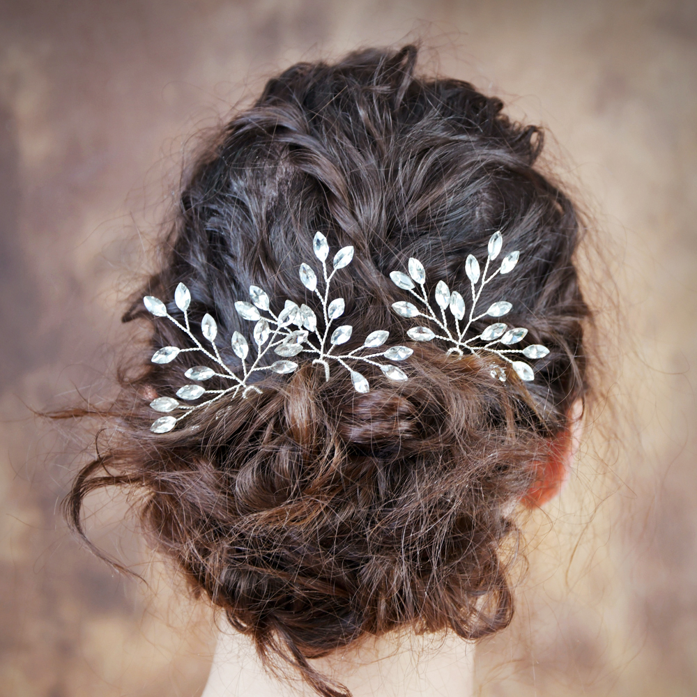 TOPQUEEN Rhinestone Thin Hair Clips Bridal Hair Pins For Girls Luxury Hair Clip Gold Sliver Hair Pins For Woman HP58-S