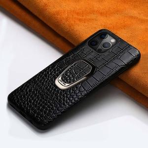 Image 1 - 정품 가죽 전화 케이스 애플 아이폰 12 프로 맥스 12 미니 11 프로 맥스 X XS 맥스 XR 6 6s 7 8 플러스 5 5S SE 2020 마그네틱 커버