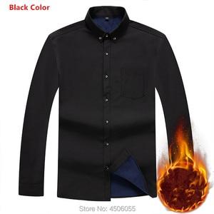 Image 4 - 2020 Winter Warm Men Shirt White Long Sleeve Fleece High Quality Formal Shirts Mens Regular Fit 8XL 9XL 10XL Plus Size Blouse