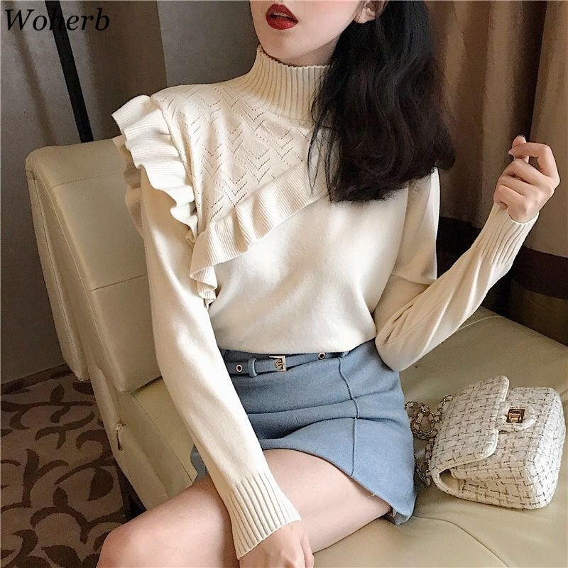 Woherb Elegant Ruffle Sweater Women Korean Fashion Turtleneck Pullover Office Casual Knit Jumper Sexy Hollow Out Bodycon Sweater