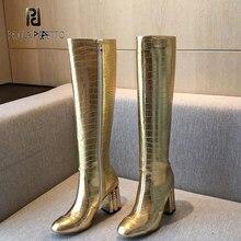 Prova perfetto 2020 outono inverno novo de salto grosso ouro branco moda feminina botas altas joelho-alta zip dedo do pé redondo tamanho grande
