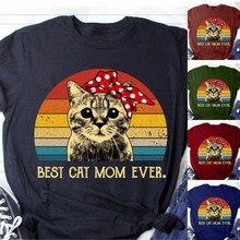 Edlpe melhor mãe gato nunca camiseta do vintage mãe presente do dia bonito impressão gráfica camiseta roupas coreanas camisetas das mulheres t camisa