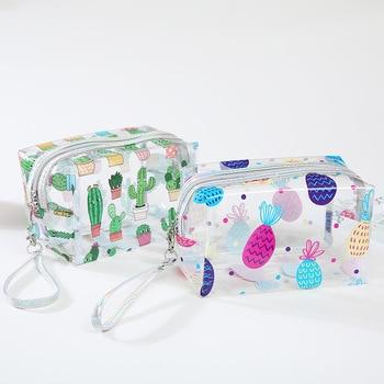 New Cute Full Cartoon Silk Print PVC Transparent Clear Handle Zipper Cosmetic Bag Stand Up Big Jelly Plastic Cosmetic Brush Bag big stand up 2019 05 23t20 00