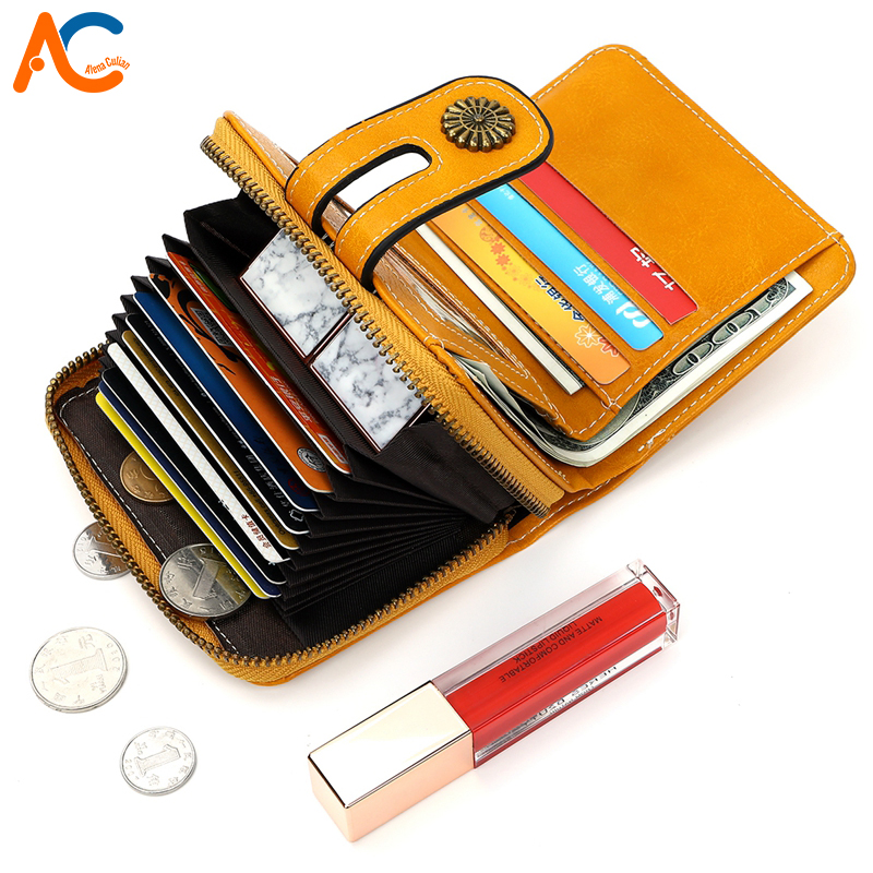 Alena Culian Quality High Capacity Fashion Leather Card Holder Wallet For Women Durable Ladies Travel Wallet Billetera Mujer