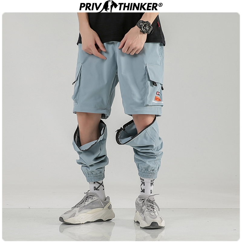 Privathinker Korean Hip Hop Spring Joggers Pants Detachable Zip For Short Pants 2020 Streetwear Man Baggy Cargo Pants 3 Colors
