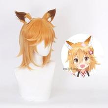 Senko-san Cosplay Orange Blonde perruque avec oreilles de renard de chat Anime Sewayaki Kitsune pas synthétique perruque casquette accessoires de déguisement d'halloween