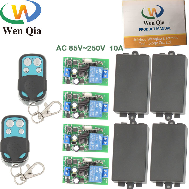 433MHz Wireless Universal Remote Control AC 220V 10Amp 2200W 1CH <font><b>4</b></font> gangs RF Relay Receiver and Transmitter for Light and Bulb image