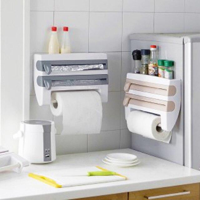 Настенный бумажный держатель для полотенец подставка для соуса 4 в 1 пластиковый нож для пленки Многофункциональный кухонный Органайзер