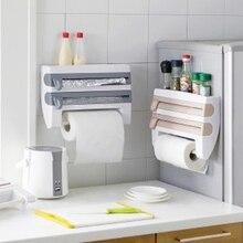 Wand Mount Papier Handtuch Halter Sauce Flasche Lagerung Rack 4 In 1 Kunststoff Film Cutter Mutifunction Küche Veranstalter