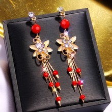 Chinese wind long tassel pendant Vintage Stud Earrings Elegant exquisite Prevent Allergy Women #8217 s Earrings Personality Trend cheap Zinc Alloy TRENDY Fashion Drop Earrings ROUND Metal push-back none gold silver 925 sterling simulated-pearl