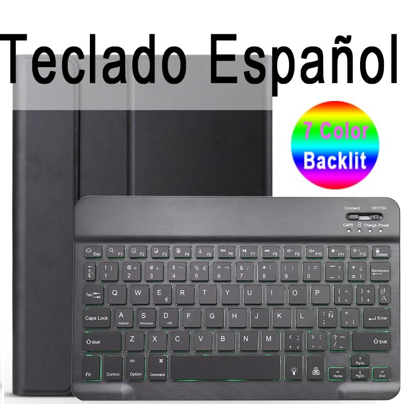 Spanish Keyboard Brown 7 Colors Backlit 3 0 Bluetooth Keyboard Case for iPad 10 2 Keyboard Case for Apple