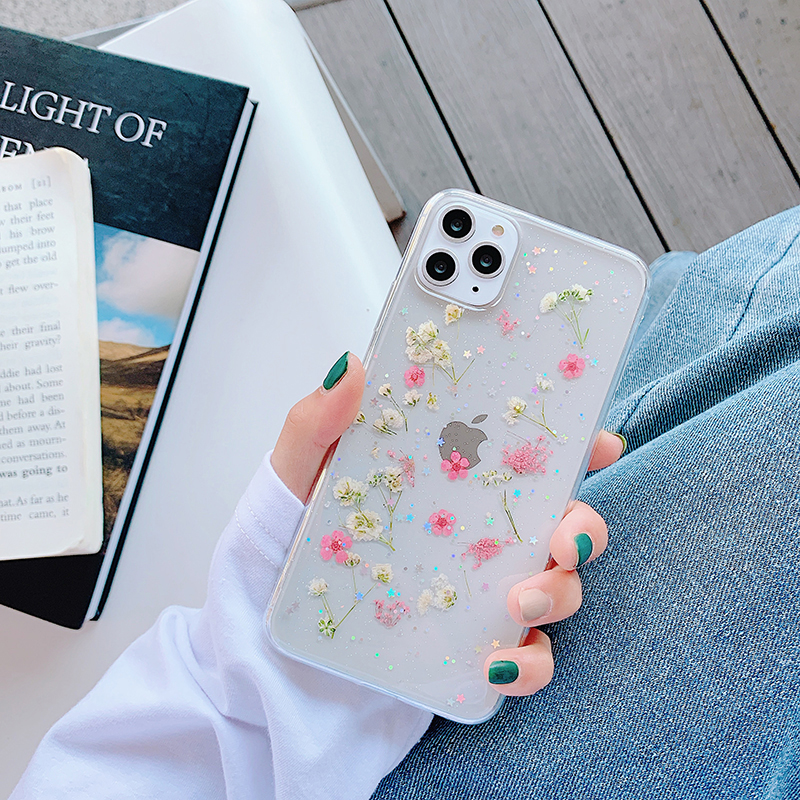 VZD dried real flower Planet handmade clear pressed phone case For iphone XR X XS MAX 11 Pro Max 6 6S 7 8 Plus Soft Cover 11