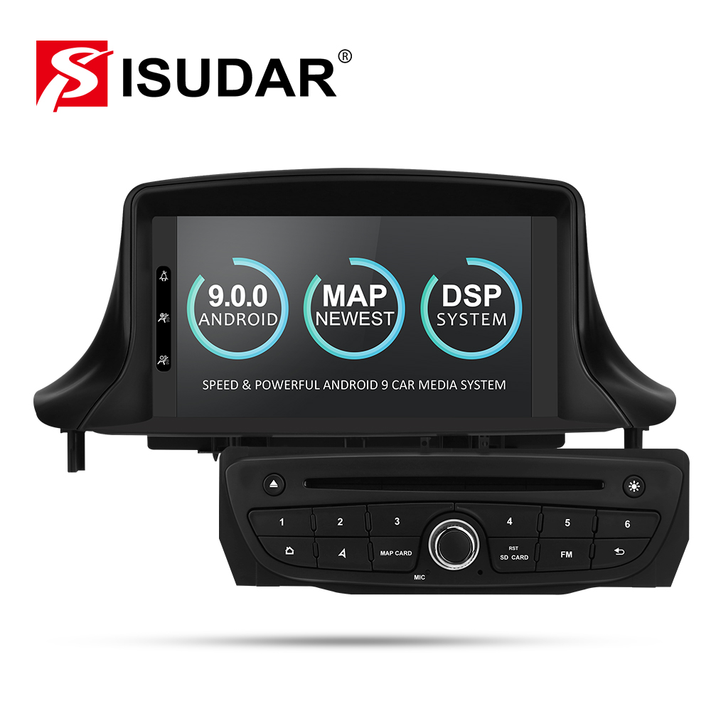 Isudar Car Multimedia player Two Din Android 9 Automotivo DVD Player For Renault/<font><b>Megane</b></font> <font><b>3</b></font> Fluence Radio FM GSP 4 Core RAM 2G DSP image