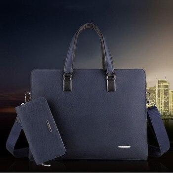 Briefcase PU Leather Zipper Horizontal Section Square Handbag Men's Briefcase Portable rossbody bag