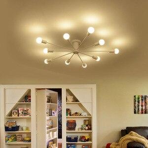 Image 4 - Retro demir avize siyah/beyaz 6/8/10 yuva aydınlatma Vintage örümcek avize Modern tavan lamba ışığı fikstür aydınlatma