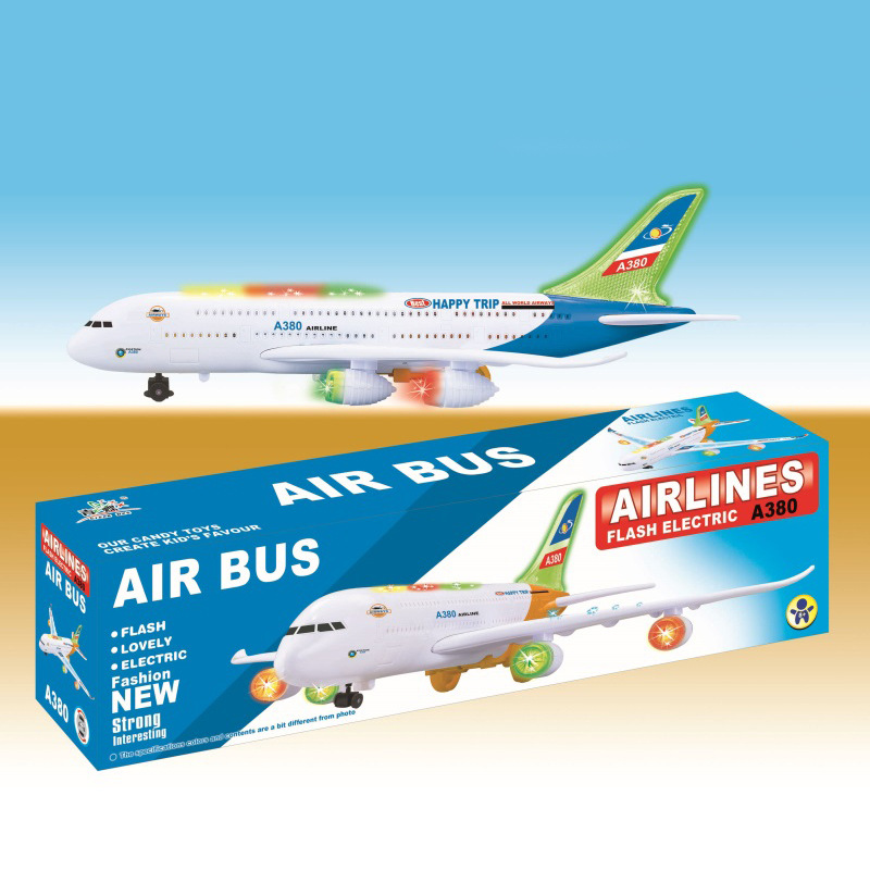 CHILDREN'S Toy A380 Airplane Electric Universal Light Passenger Plane Air Bus Model Plane
