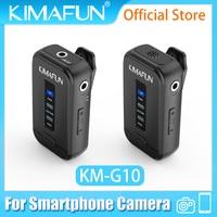 KIMAFUN-Sistema con micrófono inalámbrico Lavalier, Kit de transmisor, Vlog, grabación de vídeo, entrevista, micrófono para cámara DSLR, teléfono inteligente, 2,4G