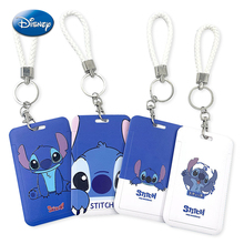 Disney Anime Stitch Card Cover Keychain Kawaii Anime Action Figures Slide Cover Bank ID Pass Card Case Toys for Boys Girls Gift