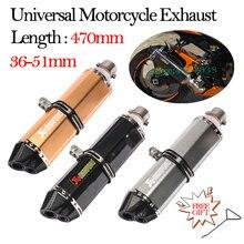 470MM tubo de Escape Universal de la motocicleta silenciador de Escape de la motocicleta de la entrada de acero inoxidable 36 51 51MM