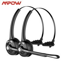 Headphone mpow pro profissional sem fio, 1/2 unidades, bluetooth, microfone, 13h de conversação, para motoristas, central de chamadas, skype office