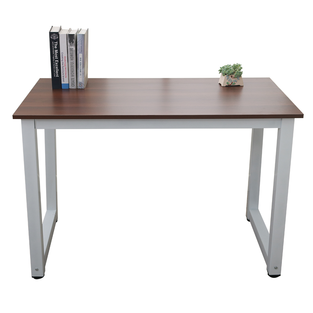 【US Warehouse】110cm Decent High Strength Wooden Computer Desk Brown(Computer Desk Table)