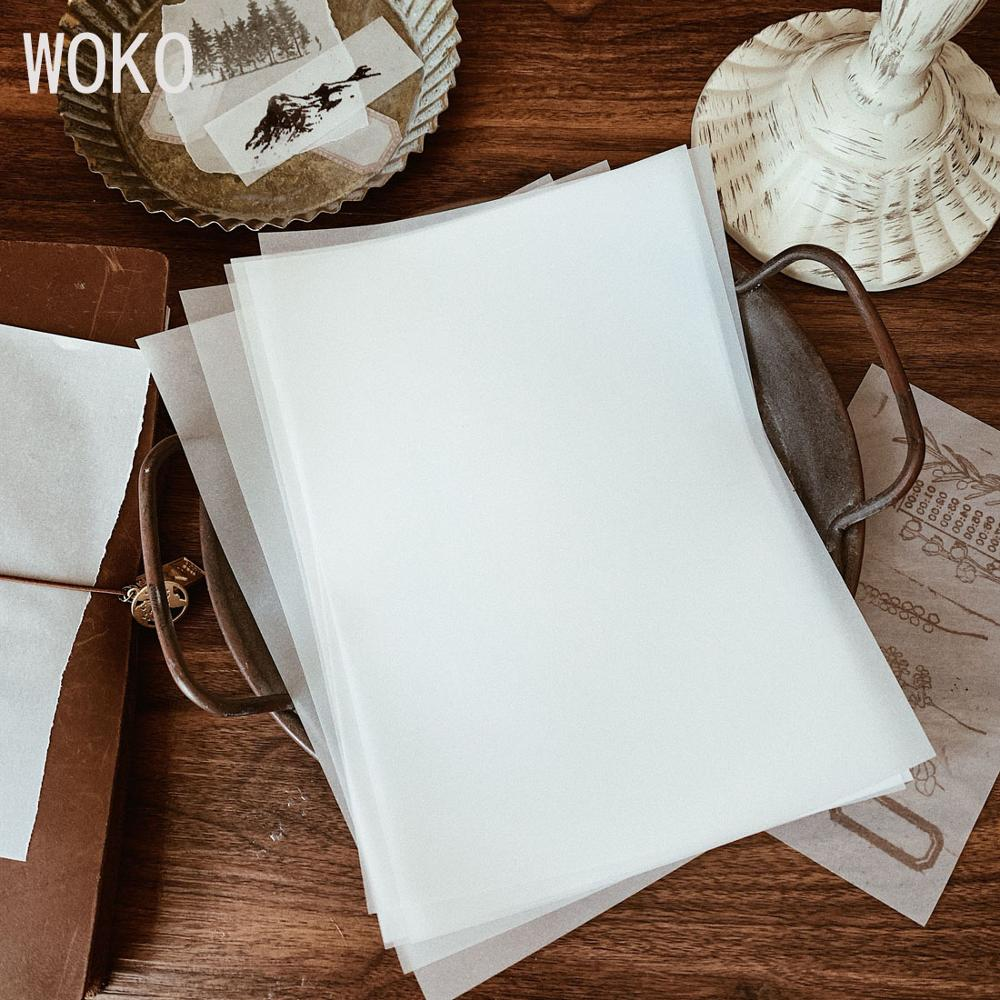WOKO 50 Sheets Simple A5 Blank Sulphuric Acid Paper Retro Translucent Background Collage Material Paper Sticker DIY Scrapbooking