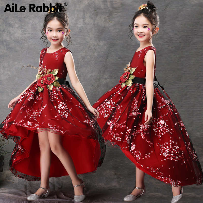 2020 New Girls Princess Party Dress Long Evening Dress Kids Fashion Dress Dovetail Tailoring Long Tail Embroidered Dress Costume Dresses Aliexpress