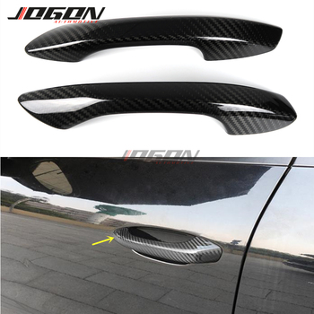 Carbon Fiber Made Car Exterior Door Handle Cover Trim Sticker Protection For Porsche 718 Boxster Cayman 2016 - 2019 image