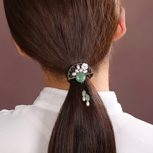Vintage Fan shaped Hair ropes elastic string Ethnic Hair Jewelry Chinese Ancient style Hair Rings rubber band Headwear цена