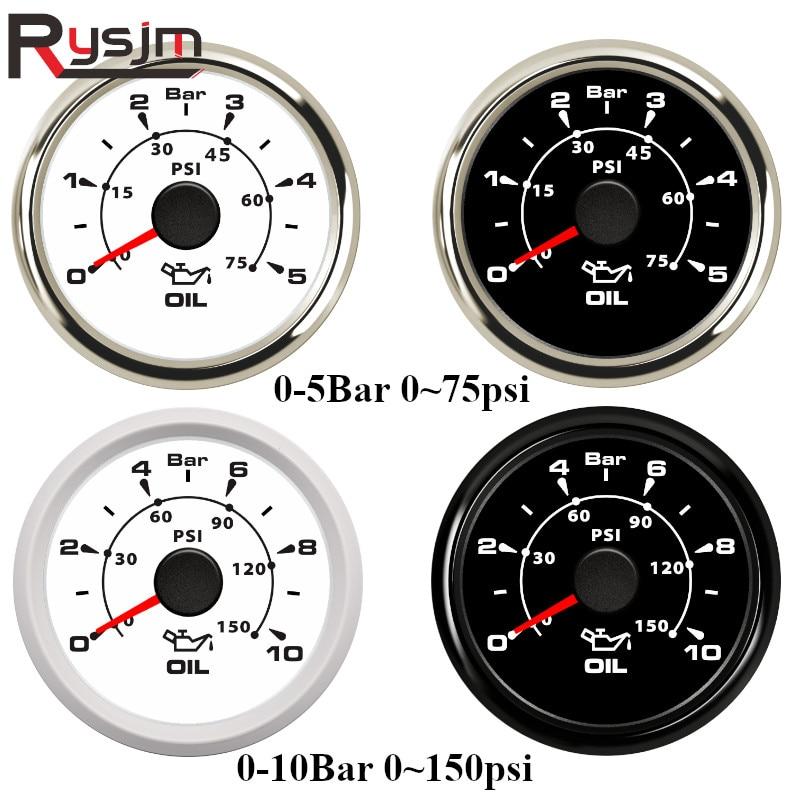 Medidores de presión de aceite marino para coches, 7 colores de retroiluminación, medidor de presión de combustible de 0 ~ 75psi, medidor de presión de combustible de 52mm, Universal para coches, camiones, yates, RV de 9-32V Boost/vacío/temperatura del agua/temperatura del aceite/Prensa de aceite/voltaje/tacómetro/relación aire-combustible/indicador de EGT + Gauge Pods 52mm caja analógica led blanca