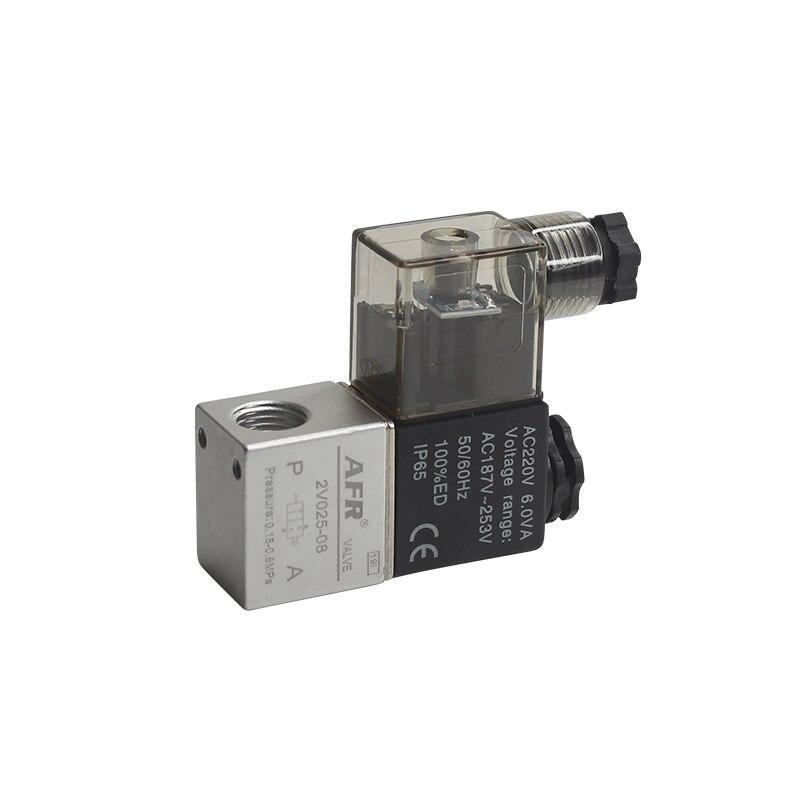 12 В 24 В 220 В вольт пневматический Электрический электромагнитный клапан 2 положения 2 порта нормально закрытый воздушный магнитный клапан 6 мм 8 мм соединение шланга - Цвет: without fittings