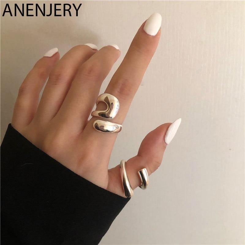 ANENJERY 925 en argent Sterling irrégulier incurvé anneau ouvert pour les femmes français exquis fête bijoux cadeaux d'anniversaire S-R974