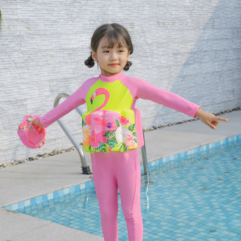 Girls Baby CHILDREN'S Buoyancy Swimsuit GIRL'S Infant One-piece Long Sleeve Warm Practice Swimming Floating