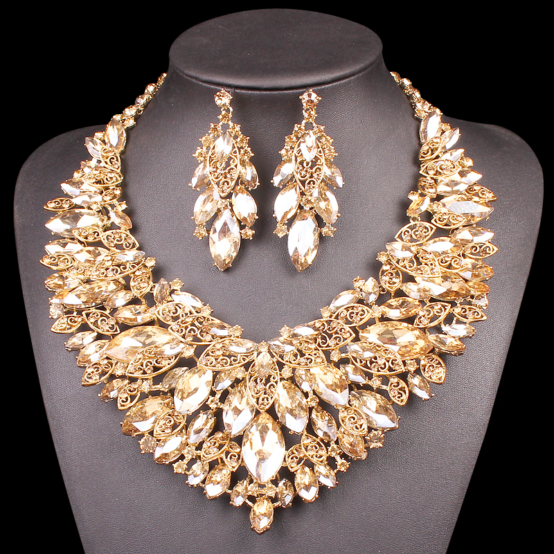 Indian Jewellery Bridal Jewelry Sets Gold Color Crystal Party Wedding Costume Accessories Necklace Earring Sets Gifts for Women
