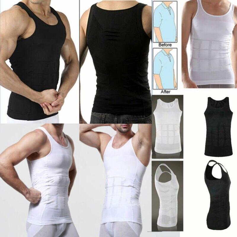2019 Solid Tank Tops Men Body Slimming Tummy Shaper Vest Underwear Shapewear Belly Waist Girdle Tank Tops