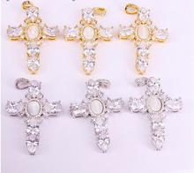6Pcs Trendy Gold Electroplated Jesus Shell Cross Pendant Necklaces Jewelry Link Chain Necklace