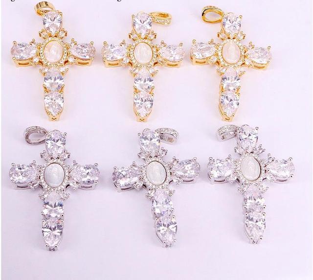 6Pcs Trendy Placcato Oro Gesù Borsette Croce Collane Con Pendente Dei Monili Della Catena A maglia Della Collana
