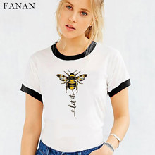2020 novas mulheres abelha tipo camiseta estética gráfico de manga curta harajuku t camisa feminina camisas mujer branco topos t roupas