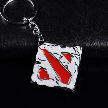 Metal Dota 2 Logo Keychain Online Game Dota2 Classical Square Pendant Keyring Car Key Chain Lover Couple Gift Key Holder 1