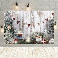 Avezano-Fondo de fotografía de Feliz Navidad, pared de madera blanca, pino, árbol, estrella, retrato de recién nacido, decoración, Fondo para sesión de fotos, estudio
