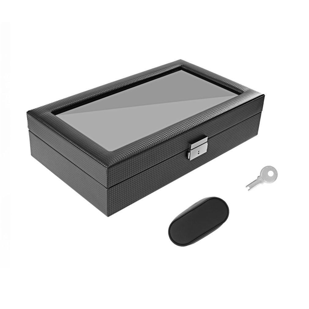 12 Girds Leather/Carbon Fiber Luxury Watch Box Jewelry Storage Box Organizer For Rings Bracelet Display Holder Case