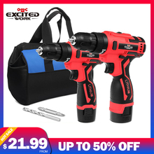 Electric Drill   Cordless Screwdriver 3/8-Inch Mini Wireless Power Driver Tools Set With Drill Accessories By EXCITEDWORK