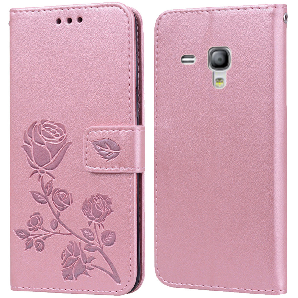Luxury Leather Flip Book Case for Samsung Galaxy S3 Mini GT-i8190 i8200 S3 Duos Neo i9301i Flower Wallet Stand Cover Phone Bag image